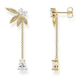 Thomas Sabo H2105-414-14 Drop Earrings Leaves with Chain Gold Plated Silver