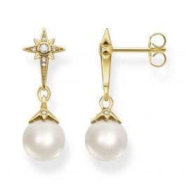 Thomas Sabo H2118-445-14 Ladies' Earrings Pearl Star Gold Plated Silver