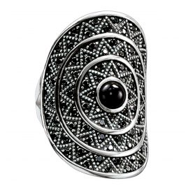 Thomas Sabo TR2053-641-11 Ladies Ring Black Zig Zag