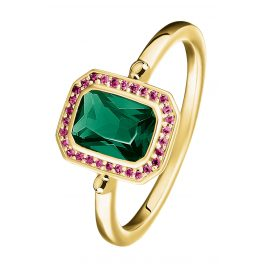 Thomas Sabo TR2264-973-7 Ring Red & Green Stones Gold Plated Silver