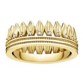 Thomas Sabo TR2282-414-14 Ring für Damen Krone Blätter goldfarben