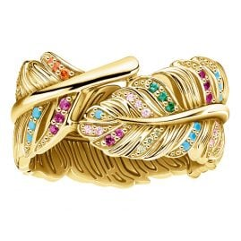 Thomas Sabo TR2284-488-7 Ladies' Ring Feather gold tone