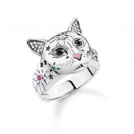 Thomas Sabo TR2290-340-7 Damenring Katze Silber