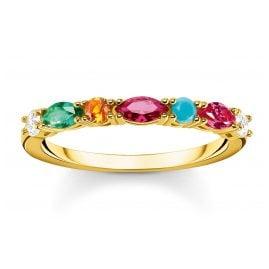 Thomas Sabo TR2341-488-7 Damenring Farbige Steine vergoldet