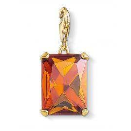 Thomas Sabo 1840-472-8 Charm-Anhänger Großer Stein Orange goldfarben