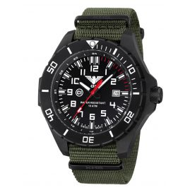 KHS LANBS.NO Mens Watch Landleader Black Steel with Nato Band Olive