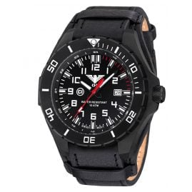KHS LANBS.R Mens Watch Landleader Black Steel with Leather Band G-Pad
