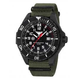 KHS LANBS.NSGO Mens Watch Landleader Black Steel with Nato Band Olive