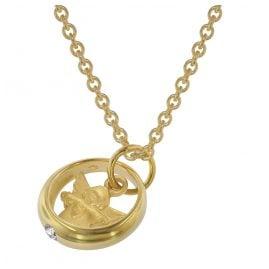 trendor 75956 Halskette mit Engel-Taufring Gold auf Silber