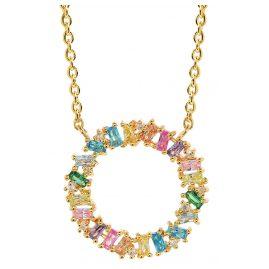 Sif Jakobs Jewellery C0163-XCZ(YG) Damen-Halskette Antella Circolo Grande Silber Vergoldet