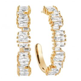Sif Jakobs Jewellery SJ-E1077-CZ-YG Hoop Earrings Antella Creolo Grande Gold-Plated