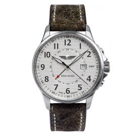 Iron Annie 5840-1 Men's Wristwatch GMT Wellblech Grey Leather Strap
