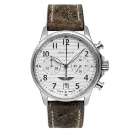 Iron Annie 5876-1 Men's Watch Chronograph Wellblech Brown Leather Strap