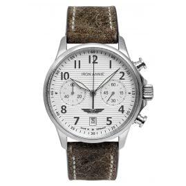 Iron Annie 5876-1 Herrenuhr Chronograph Wellblech Lederband braun
