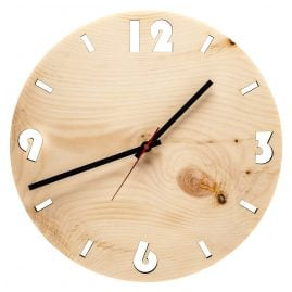 Huamet U4001 Wood Wall Clock Pine Round