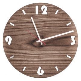 Huamet U1001 Wood Wall Clock Walnut Round