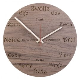 Huamet U1101 Wood Wall Clock Nut Dialect Round