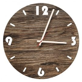 Huamet U6001 Wood Wall Clock Old Wood Round