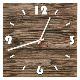 Huamet U6000 Wood Wall Clock Old Wood Square