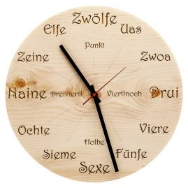 Huamet U4101 Wood Wall Clock Pine Dialect Round