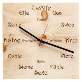 Huamet U4100 Wood Wall Clock Pine Dialect Square