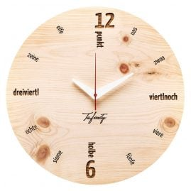 Huamet CA40-C01 Wall Clock Kultuhr Dialect Pine Wood