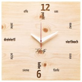 Huamet CA41-C-01 Wall Clock Kultuhr Dialect Pine Wood