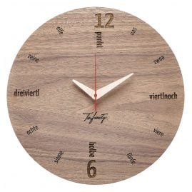 Huamet CA10-B-01 Wall Clock Kultuhr Dialect Walnut