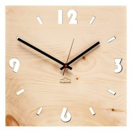 Huamet CH41-A-1604 Wood Wall Clock Pine Square