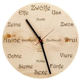Huamet CH40-A-1605 Wood Wall Clock Pine Dialect Round