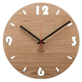 Huamet CH50-A-1604 Wood Wall Clock Oak Round