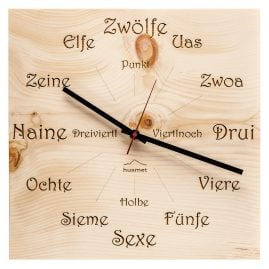 Huamet CH41-A-1605 Wood Wall Clock Pine Dialect Square