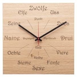 Huamet CH51-A-1605 Wooden Wall Clock Dialect Oak Square