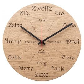 Huamet CH50-A-1605 Wooden Wall Clock Dialect Oak Round