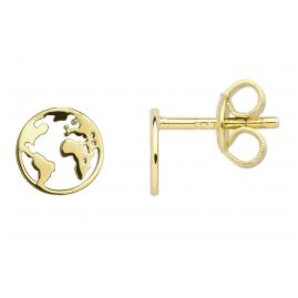 Xenox XS3163G Silver Stud Earrings Globe Gold-Tone
