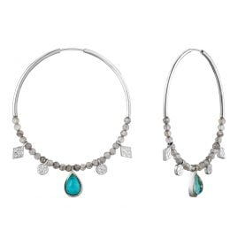 Ania Haie E014-05H Silver Ladies´ Hoop Earrings Turquoise Labradorite