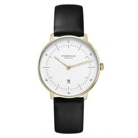 Sternglas SND02/606 Women's Watch Naos XS with Leather Strap black / gold tone