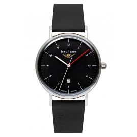 Bauhaus 2140-2 Men's Wristwatch with Leather Strap Black