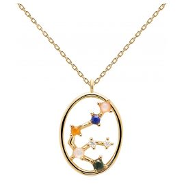 P D Paola CO01-342-U Ladies Necklace Star Sign Aquarius Gold Plated Silver