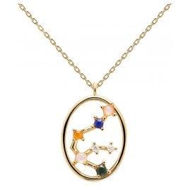 P D Paola CO01-342-U Damen-Kette Sternzeichen Wassermann Silber vergoldet