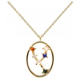 P D Paola CO01-345-U Ladies Necklace Star Sign Taurus Gold Plated Silver