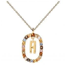 P D Paola CO01-267-U Damen-Kette Buchstabe H Silber vergoldet