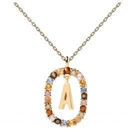 P D Paola CO01-260-U Damen-Kette Buchstabe A Silber vergoldet
