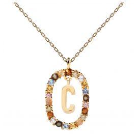 P D Paola CO01-262-U Damen-Halskette Buchstabe C Silber vergoldet