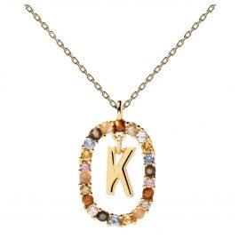 P D Paola CO01-270-U Damen-Collier Buchstabe K Silber vergoldet