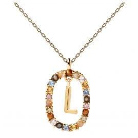 P D Paola CO01-271-U Damen-Kette Buchstabe L Silber vergoldet