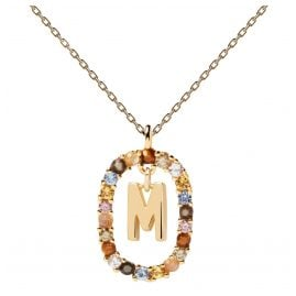 P D Paola CO01-272-U Damen-Kette Buchstabe M Silber vergoldet