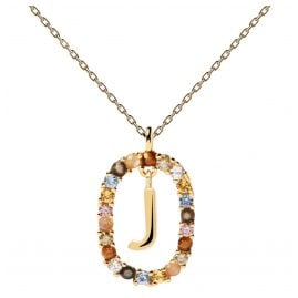 P D Paola CO01-269-U Damen-Halskette Buchstabe J Silber vergoldet