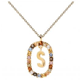 P D Paola CO01-278-U Damen-Halskette Buchstabe S Silber vergoldet