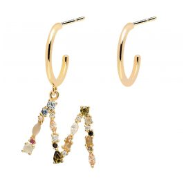 P D Paola AR01-263-U Women's Hoop Earrings Letter M